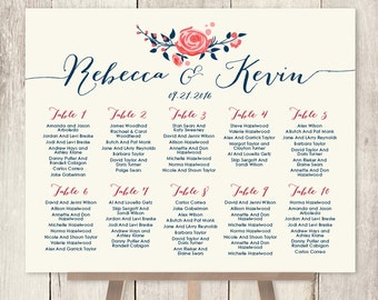 Floral Wedding Seating Chart Sign / Watercolor Rose Flower / Navy Rose Wedding Custom Seating Sign ▷ Printable File {or} Printed & Shipped