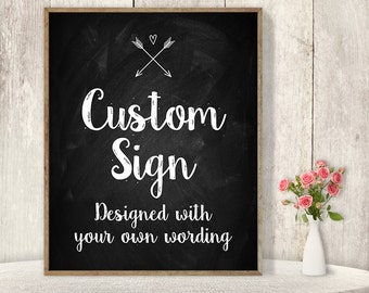 Your Custom Text Poster / Wedding Sign / Rustic Chalkboard, Whimsical Arrow, Heart, Chalk Lettering ▷ Printable File {or} Printed & Shipped