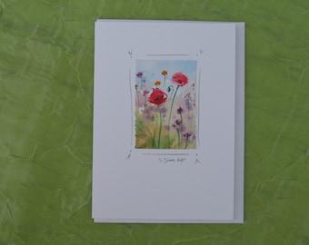 watercolor notecard, original painting, poppies with wildflowers, blank card, tiny original painting