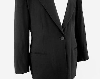 Vintage 80's Giorgio Armani Black Wool Suit Jacket and Skirt Size 44