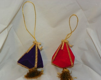 Felt Geometric Christmas Ornament with Gold Trim and Tassel