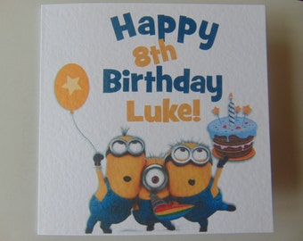 Personalised Handmade Minions Birthday Card