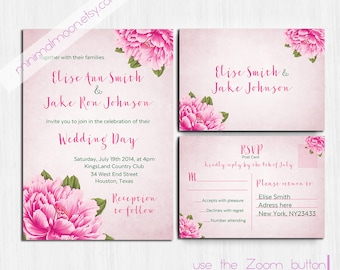 Pink peonies Wedding Invitation, Printed, Peony, pink wedding invitation, Flower invite, wedding invitation, floral wedding invitation