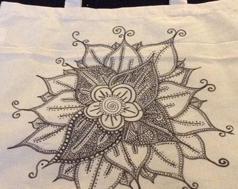 Tote Bag Zentangle Henna Style