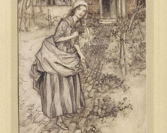 Original Arthur Rackham tipped-in plate for Midsummer Night's Dream, c1910.