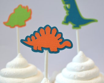 Dinosaur Cupcake Toppers Orange, Green & Blue By The Dozen 12