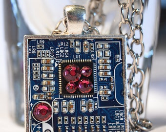 Circuit Board pendant - Motherboard Necklace - Computer jewelry - cyberpunk