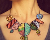Colorful polymer clay necklace -- Painted colors on circles and other shapes in polymer clay // Fimo jewelry