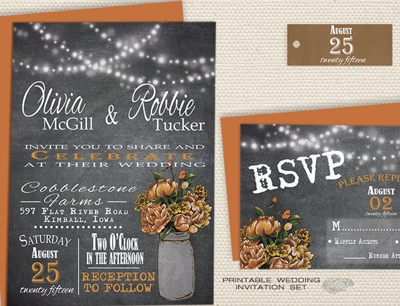 Rustic Fall Wedding Invitations: Rustic Chalkboard Wedding Invitation Fall Wedding By X3designs