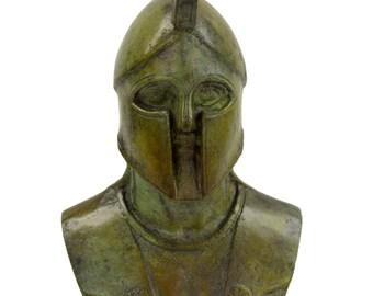 Leonidas bust Spartan king bronze aged sculpture