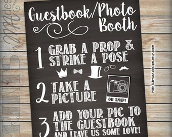 Guestbook Photo Booth Chalkboard Sign, Wedding Party Birthday Celebration Graduate, Snap a photo & add it to the guestbook, INSTANT DOWNLOAD