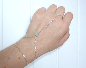 Sterling silver slave bracelet, hand chain bracelet, finger bracelet, hand harness
