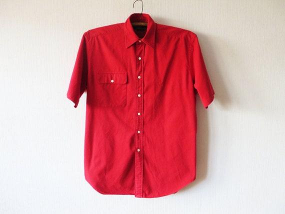 Bright red ralph lauren mens short sleeve button up summer for Mens red button up dress shirt
