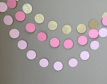 Set of 3 Circle Garlands,Gold Glitter,Pink,Blush Pink, First Birthday, Baby Shower, Bridal Shower,Wedding Decor, Paper Garlands, Party Decor