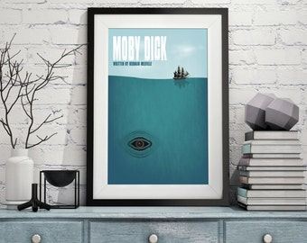 "Original Print Reinterpretation of the classic novel ""Moby Dick"""