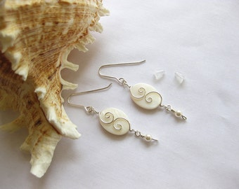 Mother of Pearl, White Swarovski Pearls & Sterling Earrings \ Silver Seas Collection by The Celtic Elf