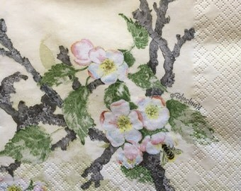 "3 Decoupage Napkins, Painted Apple Blossom, 13"" x 13"" unfolded"
