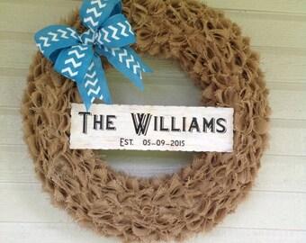 Personalized Burlap Wreath, Front Door Wreath, Spring Wreath, Summer Wreath, Burlap Wreath, Housewarming Gift