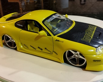 Toyota Supra Die Cast JADA Import Tuner Collectible YELLOW Car RARE