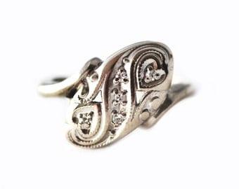 14K White Gold Vintage Diamond Princess Ring