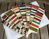 """Upcycled Selvage """"Heritage Hollow"""" Bookmarks    Fabric bookmarks   Selvage bookmarks   Autumn colors   Quilted bookmarks"""