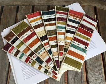 """Upcycled Selvage """"Heritage Hollow"""" Bookmarks 