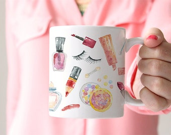 Watercolor Cosmetics Makeup Lover Feminine Coffee Cup - Pretty Make up Mug