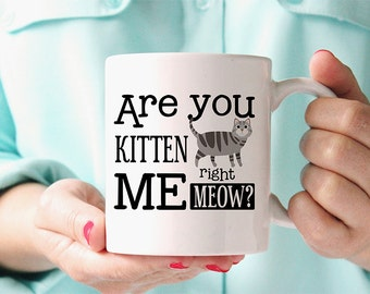 Coffee Mug Are You Kitten Me Right Meow Coffee Mug - Funny Mug - Cat Mug