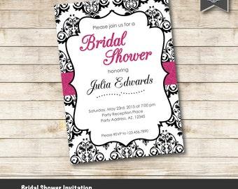 Bridal Shower Invitation, Damask Black & Pink Bridal Shower Invite, Fucsia Glitter Bridal Shower, Printable Invitation