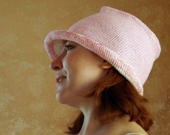 Sun hat, bucket hat, knitted hat, summer hat,  pink hat, crochet hat, crochet waistcoats, hat from the sun, Knitted waistcoats,