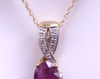 14K Yellow Gold Natural Ruby and Diamond Pendant