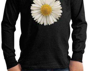 Kid's Flower Shirt White Daisy Long Sleeve Tee T-Shirt DAISY-PC61YLS