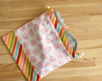 Drawstring pouche - HANDMADE - 100% cotton - perfect project bag for knitting or crochet