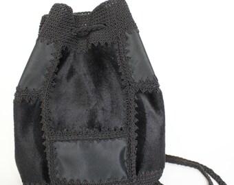 20% off mitisgris black patchwork crochet bucket style backpack