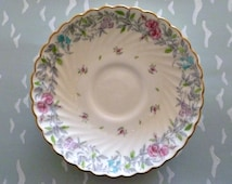 MINTON Printemps s370 VINTAGE SAUCER. Bone China Made in England. Floral pattern and swirl gold rim.