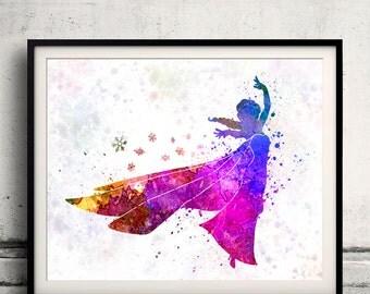 Elsa The Snow Queen-Frozen - 8x10 in. to 12x16 in. Fine Art Print Glicee Disney Poster Watercolor Children's Art Illustration-SKU 1051