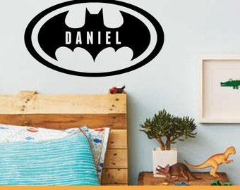 Custom Name Batman | Home Nursery Office Kids Custom Quotes | Removable Wall Decal Sticker | MS221VC