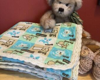 Flannel Puppies! baby blanket