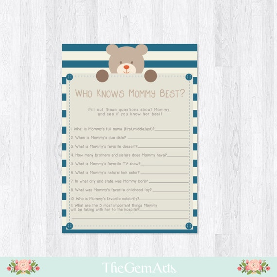 cute bear baby shower game diy printable baby shower game who knows