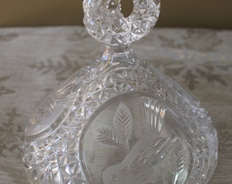 Cut Glass Crystal Candy Dish Cover