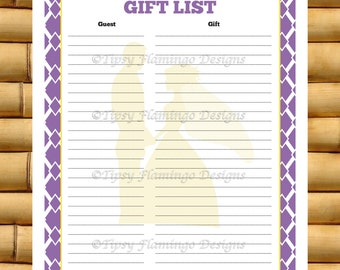 to Bridal Shower, Wedding Shower, Wedding Gift Record Sheet, Printable ...