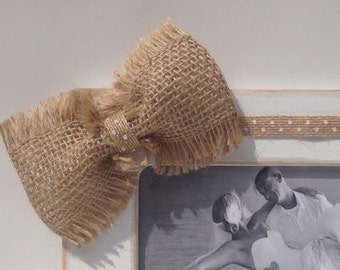 Burlap Bow with White Polka Dot Burlap Ribbon-Add on to any picture frame for 0.20. Can only purchase with picture frame.