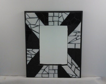 "Glass Mosaic Black and White Wall Mirror  11 1/4"" X 9 1/4"" x 1/2 """