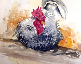 Cluck! Chicken, Art Print Giclee, Watercolor Painting,