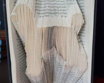 Book folding art pattern for a poodle