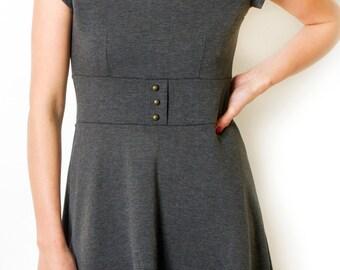 Plus size Grey mini  Dress  Tunic A line Dress Short Sleeve Dress Round Neck Dress