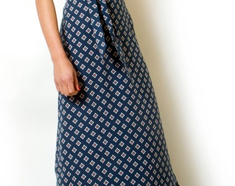 Blue Maxi Day Dress Long Printed Summer dress Geometric Belted Dress