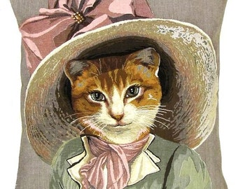 """belgian tapestry victorian cat cushion gobelin throw pillow cover belle epoque cat with pink ribbon jacquard woven 18""""x18"""" - PC-5360"""