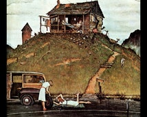 """Norman Rockwell Print, """"Fixing A Flat"""", Circa 1946, Original Vintage Book Page Print, Post Cover"""