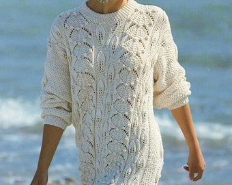 Ladies Knitting Pattern Sweater Cotton Longer Length 30 - 38 inches